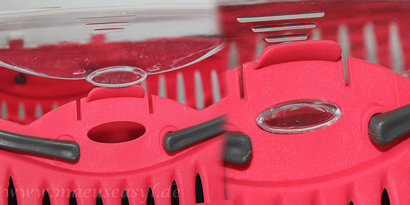 Trixie-Transportbox: Der Clip-Verschluss des Deckels