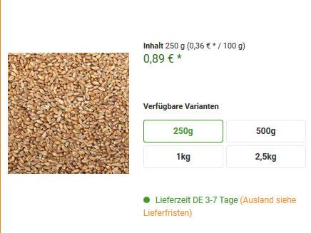 Verfügbare Packungsgrößen für Weizen beim Futterparadies