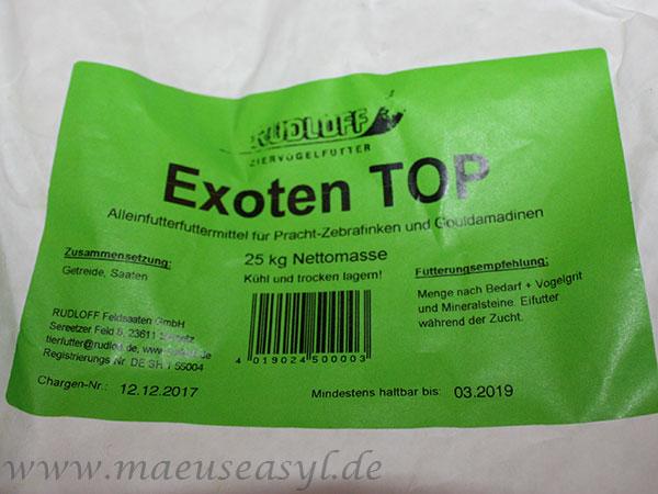 Etikett von Rudloff Exoten Top Exotenfutter