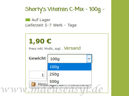 Shorty's Vitamin-C-Mix Preis